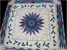 Mariner's Jewel by Kristi L. Parker.  The center Mariner's Compass was drafted in a CAD program by her husband and measures 41 inches.  Love the color combo ~ a great quilt.