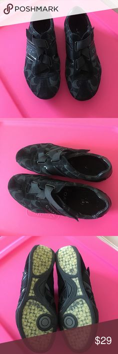 Black Coach Velcro Jenney sneakers Black Coach Velcro Jenney sneakers | size 7M | velcro straps | these shoes have been worn but still have life in them | super comfortable and perfect for a day of a lot of walking Coach Shoes Sneakers
