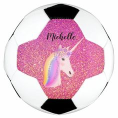 Personalized Unicorn Pink Glitter Sparkles Girls Soccer Ball - tap/click to personalize and buy #SoccerBall #unicorn #rainbow, #pink #glitter, #unicorn, Old Fashioned Games, Family Fun Night, Soccer Gifts, Girls Soccer, White Unicorn, Glitter Background, Rainbow Hair, Have Some Fun, Pink Glitter