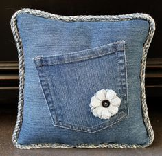 "Denim Pillow with Pocket, Denim Flower, Cording, Solid Denim Back and Filled With %100 Polyester - Pillow Measures 9.5""x9.5""x4"" - by AllintheJeans on Etsy"