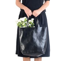 Molly Simple Shopper Black Black Leather tote by MISOUI on Etsy