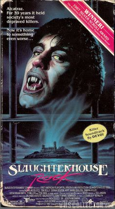 """For 39 years it held society's most depraved killers."""" Slaughterhouse Rock VHS cover is isolated Sci Fi Horror Movies, Classic Horror Movies, Cult Movies, Scary Movies, Horror Movie Posters, Movie Poster Art, Slasher Movies, Vintage Horror, Vintage Movies"""