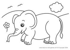 Free elephant coloring printable at www.kids-fun-and-games.com