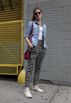 I'm obsessed with this super cool denim and printed pants look spotted in Nolita!