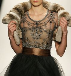 beaded bodice dress with ribbon tie at waist in copper and gray
