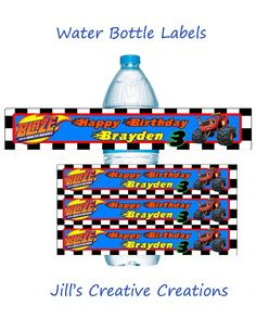 Blaze and the Monster machines, Water bottle labels, Birthday 5th Birthday Party Ideas, Cars Birthday Parties, Birthday Fun, Blaze And The Monster Machines Party, Monster Truck Birthday, Monster Trucks, Party Activities, Bottle Labels, Pokemon