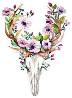 cow skull: Bright watercolor deer skull with flowers