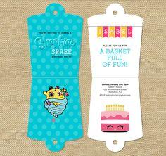 Shopkins Party Folding Basket Invitation  by WLAZdesignSHOP