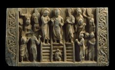 Relief depicting the Buddha's descent from the Heaven of the Thirty-three godsfront. Associated place Gandhara (place of creation) Date 3rd century AD (AD 201 - 300) Kushan Period (AD 50 - 600) Associated people the Buddha (active c. 560 BC - c. 486 BC)