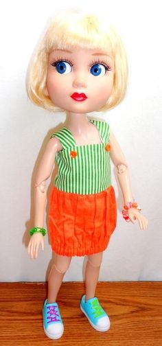 "Wilde PATIENCE 14"" Handmade Doll Clothes Green Orange Jumper Dress + Jewelry #DollClothesAccessories"