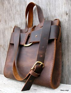 Mustang Oiled Cowhide Leather Rustic Harness Tote in Brown by Stacy Leigh Made to Order