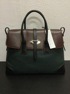 NWT Dooney   Bourke Green   Brown Leather Handbag Large 56dd722da7422