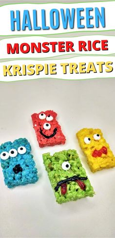 Celebrate Halloween with a super colorful snack table. This easy, no bake recipe for Monster Rice Krispie Treats is perfect for this time of year. #nobakedesserts #easydesserts #ricekrispietreats #holidaytreats #holiday #halloween