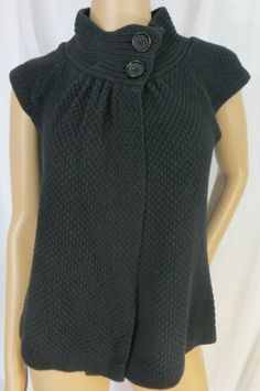 """AUGUST SILK"" BLACK COTTON BLEND SWEATER VEST - PLEASE SEE ALL PICTURES"