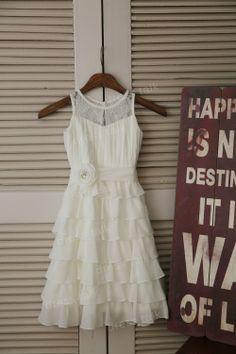Ivory Chiffon Lace Flower Girl Dress Cupcake Dress by dresstalk, $46.99