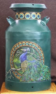 Peacock Painted milk can