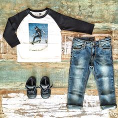 Toddler Boys Clothes ~ Minti ollie raglan tee, Mini Rodini organic denim jeans & Converse kids Axel Mid sneakers [shop link below] www.tinystyle.com.au