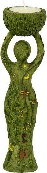 Earth Goddess Tealight Candle Holder Figurine Wiccan Pagan Metaphysical
