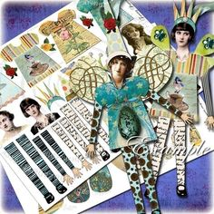 Altered Art Kit FuNnY PaPEr DoLL for Journal Page, Atc, Aceo, ScrapBooking Download Png or Jpeg Files $3.70 #doll #crafts