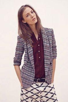 Isabel Marant Etoile summer tweed check blazer and Nepa lightening bolt print jeans