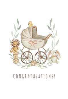 Watercolor Stroller Baby Shower & New Baby Card Baby Boy Cards, New Baby Cards, Baby Shower Cards, Buda Wallpaper, Karten Diy, Baby Illustration, Decoupage Vintage, Baby Art, Welcome Baby