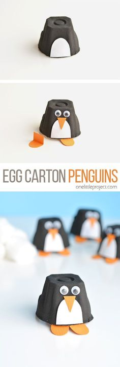 These egg carton penguins are such a fun winter craft to make with the kids! And dont they look ADORABLE?! What a great activity for a snow day!