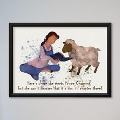 Beauty and the Beast Belle Quote Poster Watercolor by LaDecorColor