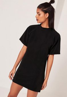Go back to basics wearing this super chic t-shirt dress, in black - featuring a mini length and rounded neckline.
