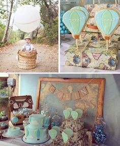 Vintage Hot Air Balloon birthday party via Kara's Party Ideas http://KarasPartyIdeas.com Cake, banners, food, tutorials, and more! #hotairballoonparty #firstbirthdayparty #upupandaway (2)