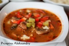 Przepisy Aleksandry: ZUPA GULASZOWA Diet Recipes, Cooking Recipes, Polish Recipes, Polish Food, Soups And Stews, Thai Red Curry, Food And Drink, Dinner, Ethnic Recipes