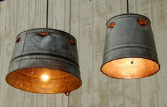 Pair Hanging Industrial Pendant Lights - Chick or Quail Feeder Galvanized Bucket