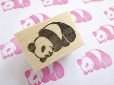 Panda stamp Cute animal stamp Baby shower by JapaneseRubberStamps