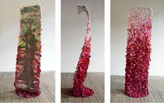 This is fine art and abstract art in the form of contemporary sculpture. Bed of Roses. Flowers, steel rods, steel plate, aluminum sheet, ink jet print with archival inks on canvas, silk rose petals, acrylic medium. Tall standing sculpture covered on the back with rose petals. Three views. One can stand leaning into the sculpture from this side. You can relax on this Bed of Roses! www.nikiketchman.com #NikiKetchmanFineArt