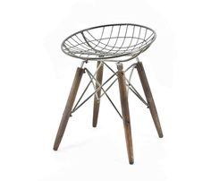 Stuhl Metall-Holz Industriedesign. Absolut bequeme Sitzschale.
