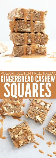 These Cashew Gingerbread Squares are the most delicious and easy sweet snack! They're only a handful of ingredients, vegan, gluten free, and paleo! thetoastedpinenut.com #vegan #glutenfree #paleo #healthysnack