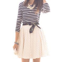 polka dots + tartan + stripes + pearls