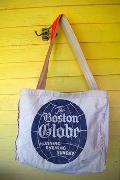 Vintage Paperboy Newspaper Carrier Canvas Bag Boston Globe by retrowarehouse on…