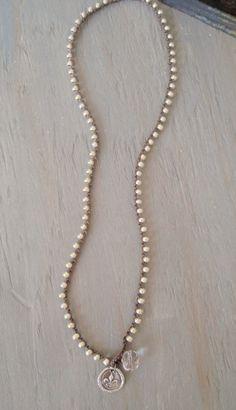 Fleur de lis wax seal crochet wrap bracelet necklace by slashKnots
