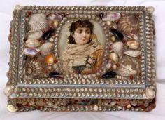 Victorian Folk Art Sea Shell Jewelry Box : Lot 3296