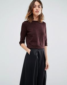 Vero Moda   Vero Moda High Neck Pocket Front Sweater Love a boxy cropped sweater with wide leg pants
