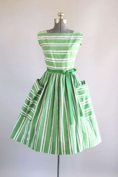 Green and White Striped Dress,Short homecoming dress,319