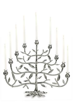 "Chanukah Menorah. ""Pomegranate Tree"" collection by Michael Aram. Nickel-plated aluminum. (17"") $229"