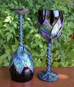 Polymer Clay Overlay on Goblets