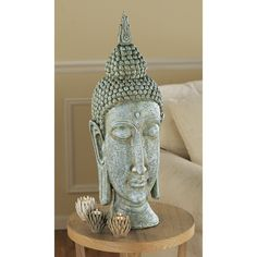 Large Asian Sukhothai Buddha Head Desktop Table Sculpture Statue Bust