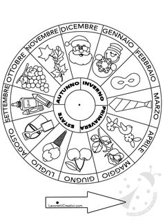 La ruota dei mesi e delle stagioni da stampare   Lavoretti Creativi - Part 3 Teaching History, Teaching Tips, Activities For Kids, Crafts For Kids, Halloween Drawings, Beaded Christmas Ornaments, Educational Programs, Preschool Math, Math Worksheets