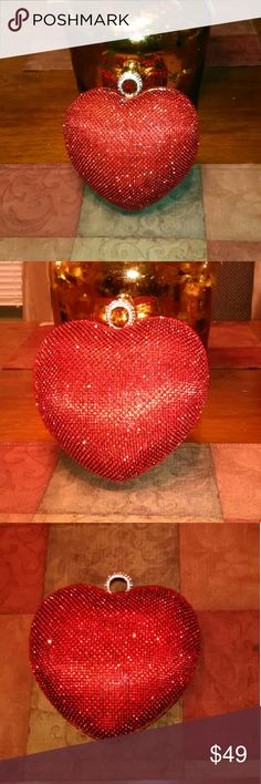 Sweetheart Crystal Handbag Lovely heart shaped evening bag designed with radiant crystals inside satin comes with detachable chain strap can be worn as a clutch or shoulder bag Lavishchicboutique  Bags Clutches & Wristlets