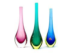 Various Murano sommerso vases