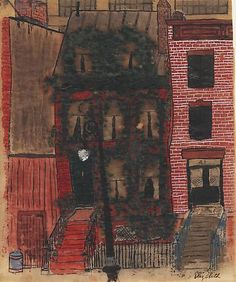 "Elizabeth Bishop, ""43 King Street""  (watercolor, gouache and ink on paper  8 1/4 x 6 3/4 inches)."