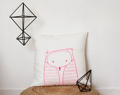 Hey, I found this really awesome Etsy listing at https://www.etsy.com/listing/190984236/owl-cushion-cover-neon-pink-owl-pillow