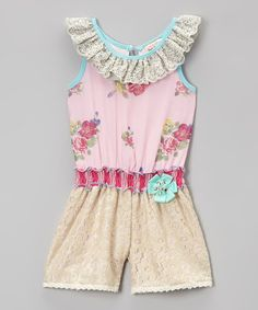 Another great find on #zulily! Pink Floral Lace Romper - Infant, Toddler & Girls #zulilyfinds
